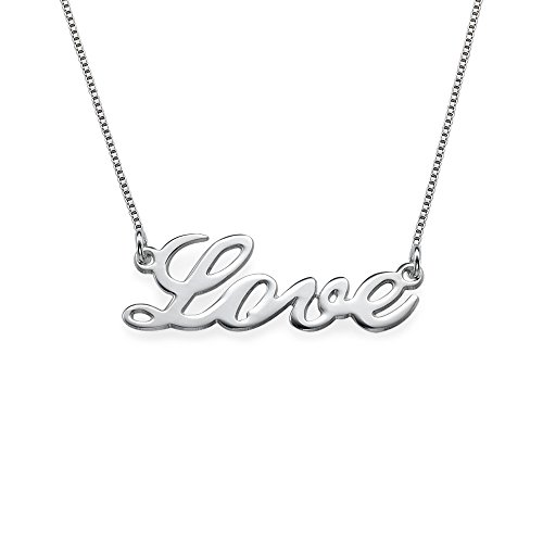 Solid Sterling Silver Cursive Word LOVE Necklace!