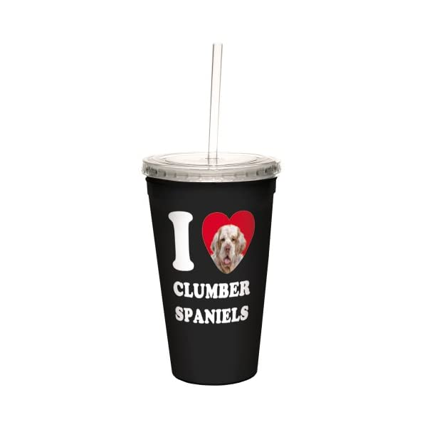 Tree-Free Greetings CC35035 I Heart Clumber Spaniels Artful Traveler Double-Walled Cool Cup with Reusable Straw, 16-Ounce 1