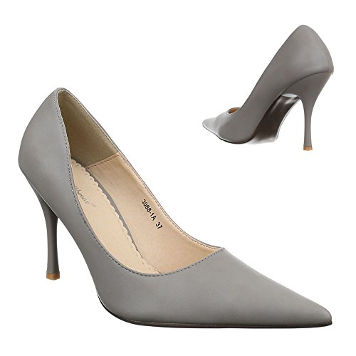 Ital-Design Damen Schuhe, 3088-1A-1, Pumps High Heels Stiletto Grau