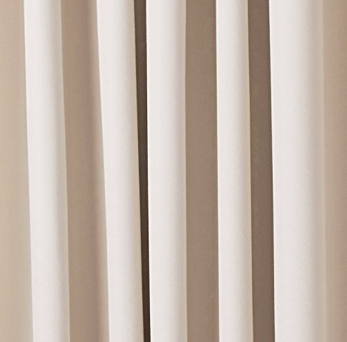 AmazonBasics Room Darkening Thermal Insulating Blackout Curtain Set with Tie Backs - 52 x 63 Inches, Beige (2 Panels)