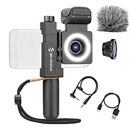 Movo SmartCine Complete Smartphone Video Rig with Built-in Stereo Microphone, LED Light, Wide-Angle and Fisheye Lenses…