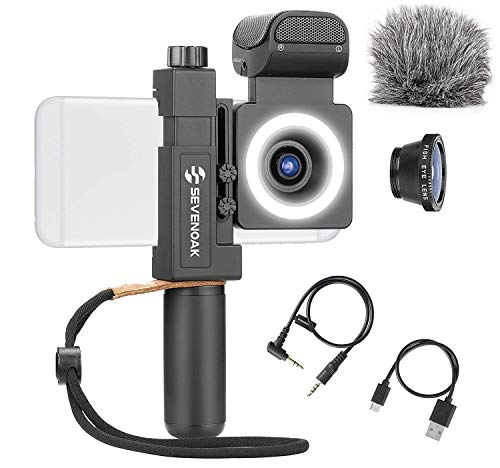 Movo SmartCine Complete Smartphone Video Rig with Built-in Stereo Microphone, LED Light, Wide-Angle and Fisheye Lenses - Youtuber Kit Compatible with iPhone and Android Phones - YouTube Equipment