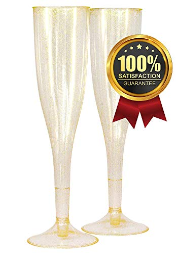 25 Plastic Champagne Flutes 5.5oz Gold Glitter / Bachelorette Party Decorations / Wedding and Bride to Be Party Flutes / Bridal Shower Party Supplies / and Disposable