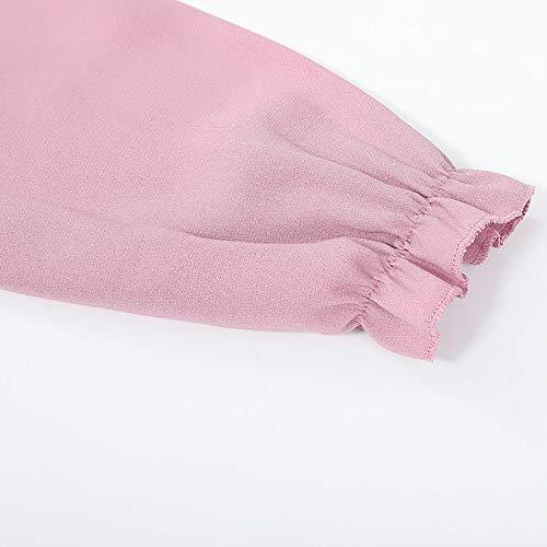 Tee Élégant Manches Bowknot Rose Shirt Couleur Automne Blouse Adeshop Chemise À Chic Haut Vetement Longues Noeud Papillon Tops Slim Pure Mode Femmes 6wwqT10vX