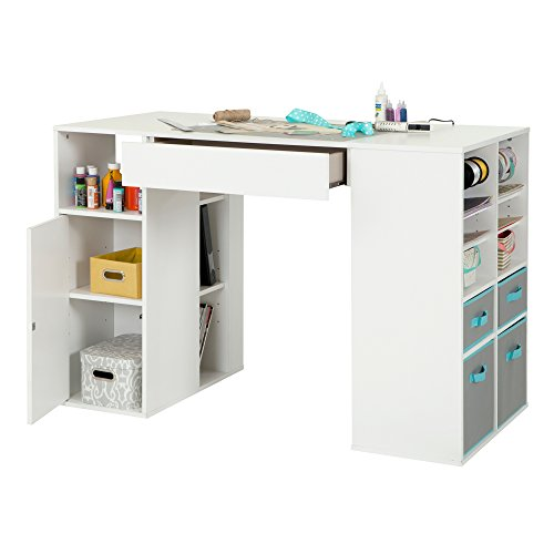 (South Shore Crea Counter-Height Craft Table with Scratchproof Surface and Interchangeable Modules - 4 baskets included, Pure White)