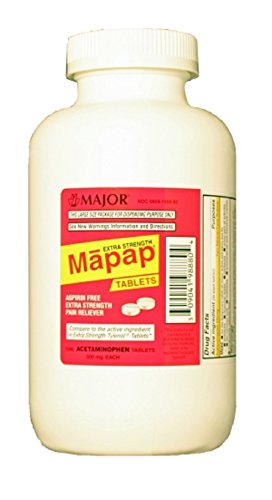 MAPAP 500MG TAB ACETAMINOPHEN-500 MG White 1000 TABLETS UPC 309041988804 -  Major Pharmaceuticals