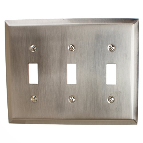 GlideRite Hardware Wall Plate Cover for Triple Toggle Light Switch – Steel 3-Gang Square Beveled Receptacle for Kitchen, Bath or Living Room (Triple Toggle, Brushed Nickel)