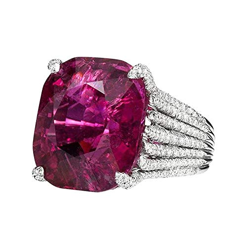 Toponly Dazzling Women Fashion Natural Ruby Diamond Engagement Antique Ring Mother's Day (Antique Ring Diamond Pink)