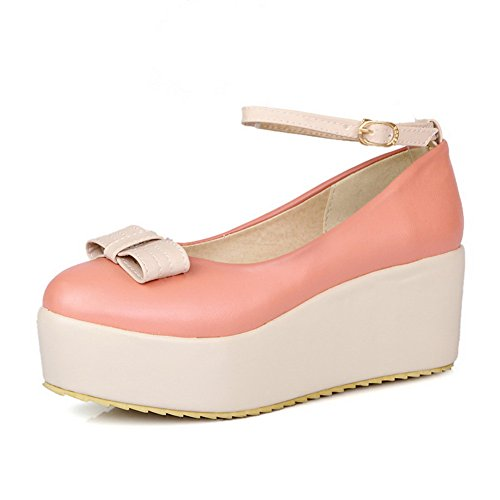 WeenFashion Round Toe Women's M Pumps 5 Platform Mary Wedge Bowknot 5 Mid Closed PU Heel Pink Jane B whith US Solid AwApr1q