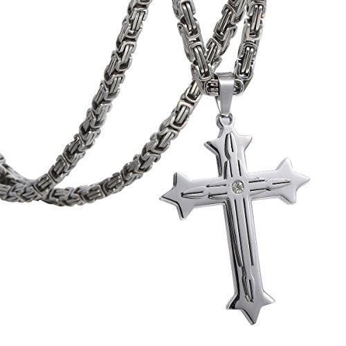 Trendsmax Mens Chain Boys Stainless Steel Cross Pendant Necklace 5mm Byzantine Necklace 30inch -