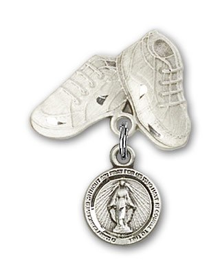 Sterling Silver Baby Badge with Miraculous Charm and Baby Boots Pin