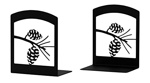 Iron Pine Cone Book Ends -Set of 2-Black Metal