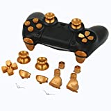 Full Aluminum Metal Buttons for PS4 Controller, YTTL Custom Metal Thumbsticks Analog Grip + Metal ABXY + D-pad + Metal L1 R1 L2 R2 Trigger Buttons for Playstation 4 DualShock 4 PS4 Controller - Gold