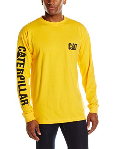(Caterpillar Men's Big and Tall Trademark Banner Long Sleeve T-Shirt (Regular and Big & Tall Sizes), Yellow, 2X Large)