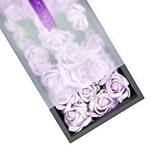 Ella Celebration 25 Artificial Flowers, Real Touch Foam Roses for Crafts, Weddings, Decorations, DIY for Bridal Bouquets Party Centerpieces, Home Display, Office Decor (Lavender)