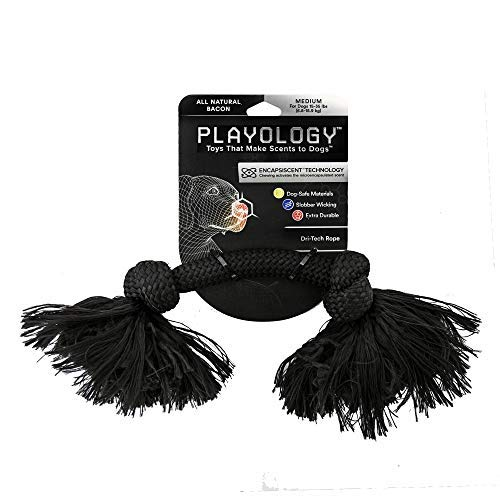 Image of Playology Dri-Tech Rope Scented Dog Toy, Durable Fiber Technology Resists Tearing and Wicks Away Slobber, Bacon (Medium)