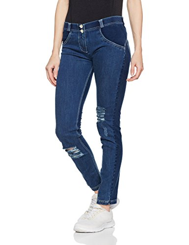 Freddy WR.UP Women's Low Waist Skinny Dark Wash Effect Denim Dark Jeans-White Seams