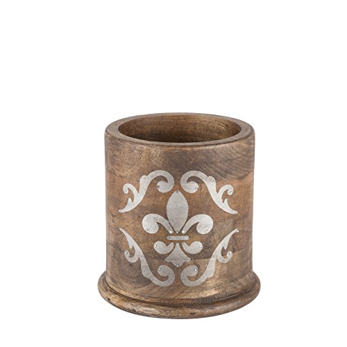 (The Gerson Company 7''H x 6.5''D Meadowlark Home Collection Hand Made Mango Wood Round Fleur De Lis Pattern Utensil Holder)