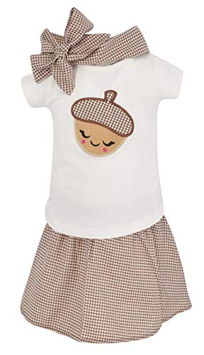 Unique Baby Girls 3 Piece Acorn Embroidered Thanksgiving Outfit Set (6) Brown
