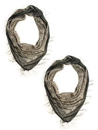 Bohomonde The Boho Bandanna, Cotton Gauze Square Scarf (2 Pack, Black) ()