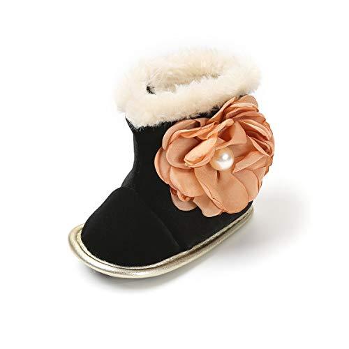 h Snow Boots Soft Sole Anti-Slip Mid Calf Winter Warm Infant Toddler Outdoor Shoes (13cm(12-18 months), Black-Orange Floral) ()