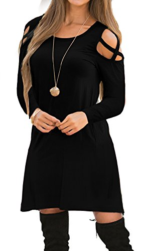 OYANUS Womens Dresses Summer Strappy Cold Shoulder Swing T-Shirt Loose Dress with Pockets A4-Black L]()