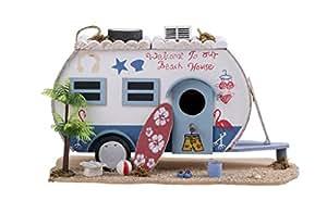 Pajarera Caravana Beach House Camper en la playa nistplatz Comedero 28cm caja Nido Pajarera Madera