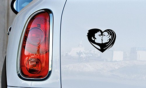 Man and Woman Kissing Heart Love Car Vinyl Sticker Decal Bumper Sticker for Auto Cars Trucks Windshield Custom Walls Windows Ipad Macbook Laptop and More (BLACK)