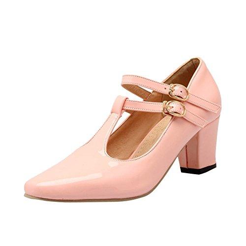 MissSaSa Damen Chunky heel T-Spange Knöchelriemchen Lackleder Schnalle Pumps mit Blockabsatz Pink