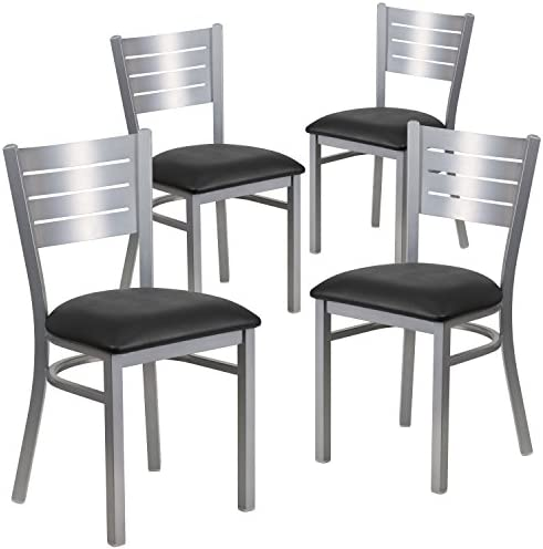 Flash Furniture 4 Pk. HERCULES Series Silver Slat Back Metal Restaurant Chair – Black Vinyl Seat