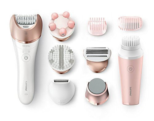 Philips Satinelle Prestige Epilator, Cordless, Wet and Dry Hair Removal, 7 Accessories and VisaPure Mini Facial Brush - BRP586/00