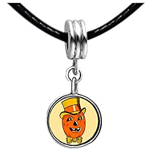 Chicforest Silver Plated happy Halloween Jack O costume Photo Light Amethyst Crystal June Birthstone Flower dangle Charm Beads Fits Pandora Charm