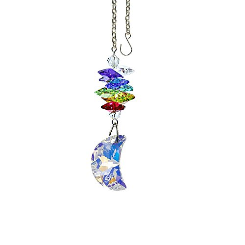 - Crystal Suncatcher 3 inch crystal Ornament Aurora Borealis Faceted Half Moon Prism Colorful Cascade Prisms Rainbow Maker Made with Genuine Swarovski crystals