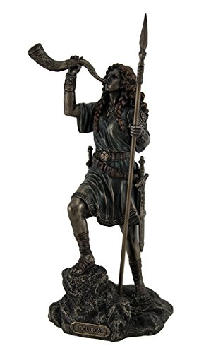 Celtic Horn - Resin Statues Boudica Warrior Queen Of Iceni Holding Spear Blowing Celtic Horn Statue 5 X 10.25 X 5 Inches Bronze