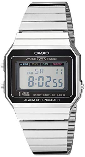 Casio Men's Classic Quartz Stainless-Steel Strap, Silver, 21.5 Casual Watch (Model: A700W-1ACF)