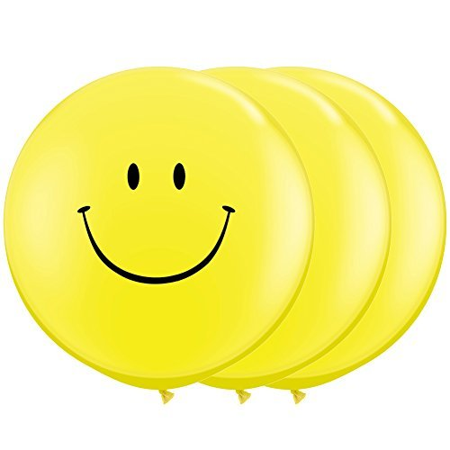 Aligle 36 Inch Giant Smile Balloon yellow (Premium Helium Quality) Pkg/3,Weddings and parties Creative decoration balloons ()