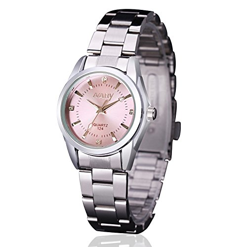 Women Lady Dress Analog Quartz Watch with Stainless Steel Band, Casual Fashion Waterproof Watches Roman Numeral Diamond Rhinestone Luminous Wristwatch – Pink