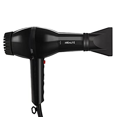 Le Beaute Hair Dryer - Blow Dryer For Professional Salon Grade Treatment - Quality Ionic Ceramic Blower w/ Concentrator and Diffuser - Black