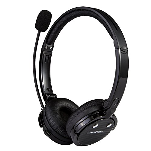 Bluetooth Headset with Microphone, Over-The-Head Wireless Stereo Headphones (Music Streaming, Hands-Free In Car, Up To 12 Hours, Noise Cancelling) for Truck Drivers and Telephone Operator (Black)