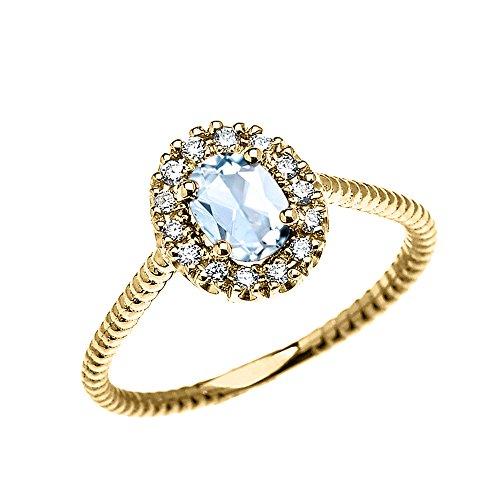 Bague Femme/ Bague De Fiançailles 14 Ct Or Jaune Diamant Et Ovale Aquamarine Solitaire Conception De Corde