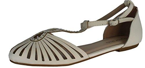 Top Moda Womens End-33 T-Strap Almond Toe Flat Sandals,White,6.5