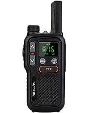 Retevis RB618 Mini Walkie Talkie, PMR446 Licentievrij, LED Licht, Dual PTT, LCD Squelch, VOX Handsfree, Mini Walkie-Talkie (3 Stuks, Zwart)