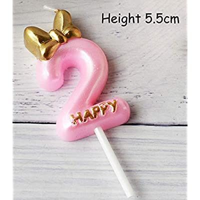 Pink Gold Number 2 Candle for Boy Girl, 2th Year Old Birthday Candles for Cake for Men Women, Mr Mrs 2nd Number Cake Candle, Cupcakes Number Two Candles for Cake Non Toxic Second (Number 2, Mrs): Home & Kitchen