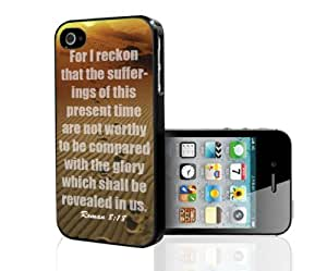 Roman 8:18 Bible Verse on Colorful Sunset Background Hard Snap on Phone Case (iPhone 4/4s)