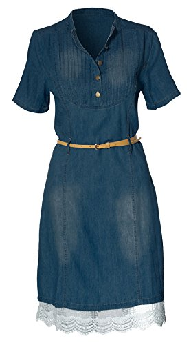 Women's Button Casual Denim Fitted Tunic Top Dress,Large,Sapphire Blue