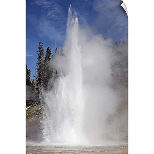 CANVAS ON DEMAND Richard Roscoe Wall Peel Wall Art Print Entitled Grand Geyser erupting, Upper Geyser Basin Geothermal Area, Yellowstone National Park 12