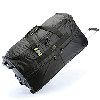 Image of A.SAKS Luggage Lightweight Rolling Trolley Duffel with Wheels (Black, 31-inch) Luggage