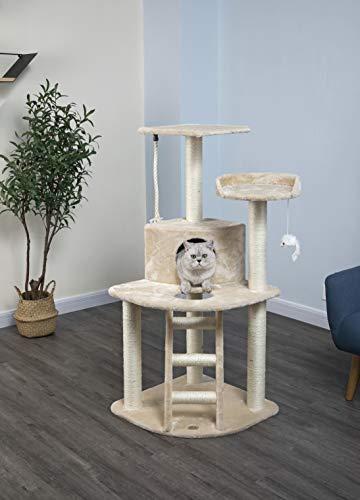 Go Pet Club Cat Tree Condo House, 32W x 25L x 47.5H Inches, Beige