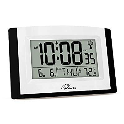 WallarGe Atomic Wall Clock,Self-Setting Desk Clock,Digital Wall Clock,Battery Operated,Large Digital Display Clock with Temperature and Date.Excellent Clock for Office.