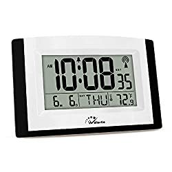 WallarGe Atomic Clock,Digital Wall Clock Battery Operated,Alarm Clock with Table Stand,Digital Clock Large Display,Easy to Read Temperature,Date and Day of The Week.